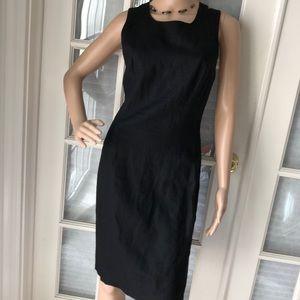 Ann Taylor Vintage blk linen Crisscross back dress